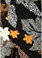 Beymen Collection Çiçek Desenli Bol Paça Pantolon Siyah